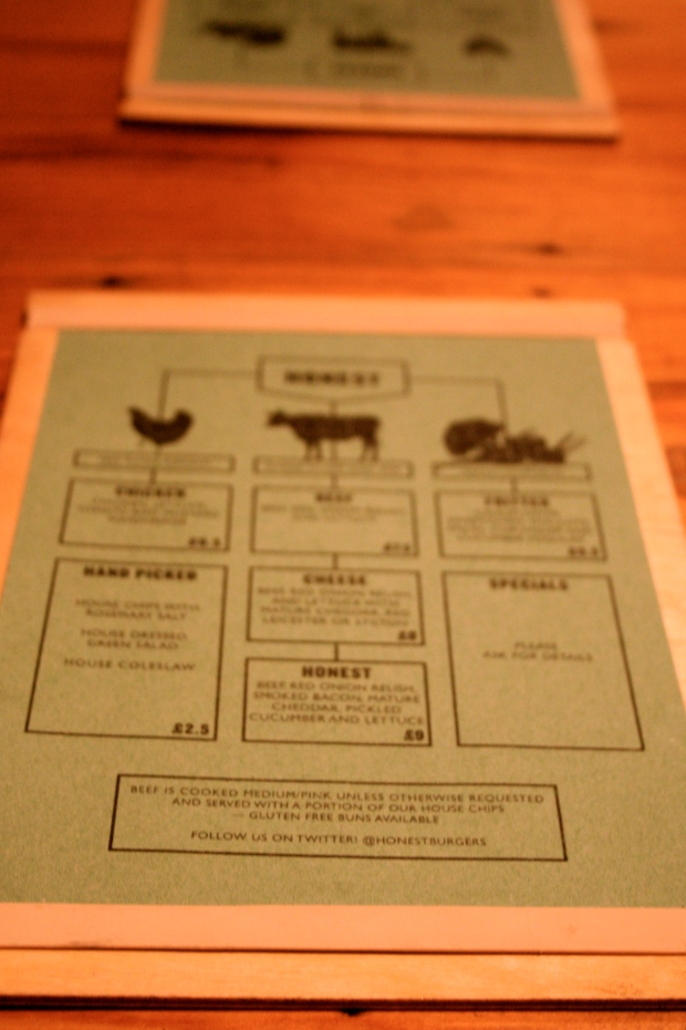 Honest Burger menu