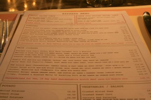 Bob Bob Ricard menu
